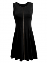 Black Sleeveless Zipper Front Solid Slim Dress