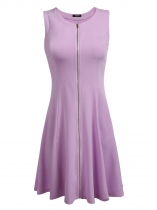 Purple Sleeveless Zipper Front Solid Slim Dress
