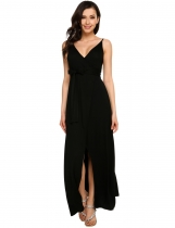 Black Solid Spaghetti Strap Split Maxi Belted Dress
