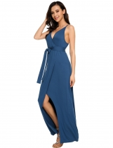 Bracelet bleu spaghetti sexy pour femme Faux Wrap Split Party Maxi Dress with Belt