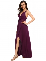 Vinho rouge Bracelet spaghetti sexy pour femme Faux Wrap Split Party Maxi Dress with Belt