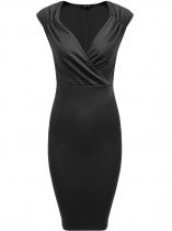 Women Vintage Style V-Neck sans manches drapée Bodycon Party Pencil Dress