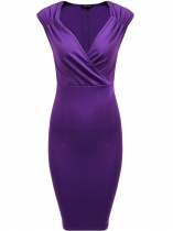 Purple Vintage Style Surplice Neck Sleeveless Ruched Dress