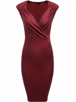 Wine red Vintage Style Surplice Neck Sleeveless Ruched Dress