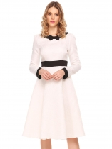 White Women Vintage Style Bow à manches longues Jacquard Patchwork Party Midi Swing Dress