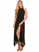 Black Solid Backless Hollow Lace Irregular Split Hem Maxi Dress
