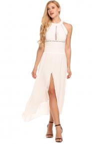 64d388bbebd5f الأبيض الصلبة عارية الذراعين الجوف الرباط غير النظامية انقسام تنحنح فستان  ماكسي