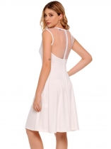 White Mesh Patchwork Vintage Sleeveless O Neck Party Swing Dress