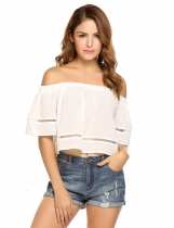 Short Sleeveless Off the Shoulder Solid Loose Chiffon Crop Tops