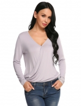 Grey Solid Long Sleeve V-neck Asymmetric Hem Loose Top