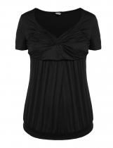 Black Plus Sizes Short Sleeve Knotted Ruched Tops