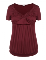 Dark red Plus Sizes Short Sleeve Knotted Ruched Tops