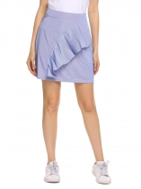 Royal Blue High Waist Striped Ruffles Short Skirt