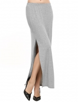 Grey Casual Elastic Waist Side Split Solid Slim Sexy Skirt