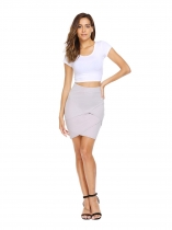 Light gray Solid Elastic High Waist Short Pencil Skirt