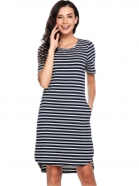 Navy blue Striped Slim Curved Hem Dress with Pocket
