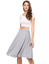 Grey Solid Elastic High Waist Pleated A Line Skirt