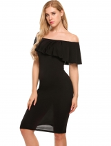 Black Sleeveless Off-shoulder Ruffled Pencil Dress