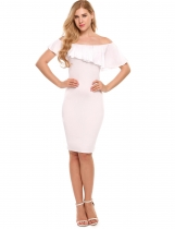 White Sleeveless Off-shoulder Ruffled Pencil Dress