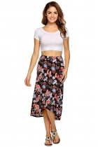 Women's Elastic Waist imprimé floral High Low Hem Forfait Hip Midi jupe