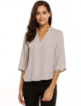Gray V-Neck Half Sleeve Solid Asymmetry Hem Chiffon Blouse