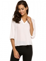 White V-Neck Half Sleeve Solid Asymmetry Hem Chiffon Blouse