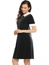 Black Short Sleeve Patchwork Contrast Color Dress