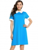 Blue Short Sleeve Patchwork Contrast Color Dress