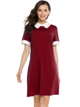 Wine red Short Sleeve Patchwork Contrast Color Dress