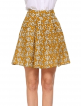 Yellow Printed High Waist A-Line Pleated Hem Skirt with Lining