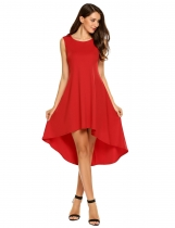 Red Pockets Side Loose High Low Asymmetrical Hem Dress