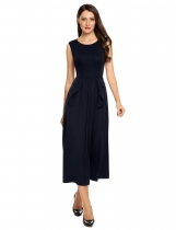 Navy blue O-Neck Sleeveless Solid Zipper Long Dress
