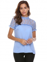 Light blue O-Neck Short Sleeve Lace Patchwork Chiffon Blouse