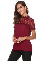 Wine red O-Neck Short Sleeve Lace Patchwork Chiffon Blouse