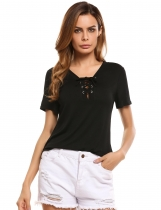 Black V Neck Short Sleeve Solid Slim Jersey T-Shirts