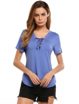 Blue V Neck Short Sleeve Solid Slim Jersey T-Shirts