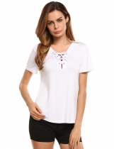 White V Neck Short Sleeve Solid Slim Jersey T-Shirts