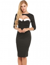 Black Vintage Style Cut Out 3/4 Sleeve Polka Dot Bodycon Pencil Dress