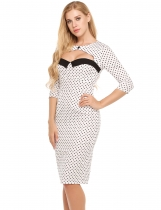 White Vintage Style Cut Out 3/4 Sleeve Polka Dot Bodycon Pencil Dress