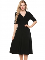 Black Vintage Style Half Sleeve Fit and Flare Dress