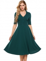 Green Vintage Style Half Sleeve Fit and Flare Dress