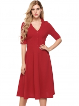 Red Vintage Style V-Neck demi-manche élastique Fit et Flare Party Dress