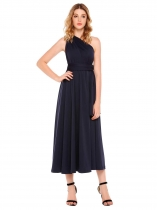 Dark blue Backless Multi-Wear Convertible Maxi Dress