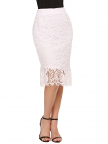 Beige Women Casual High Waist Package Hip Fishtail Side Zipper Floral Lace Sexy Skirt