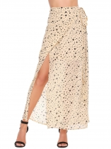 Beige Star Print Wrap Tie High Waist Beach Skirt