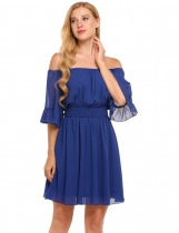 Blue Robe courte en mousseline A-Line