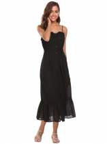 Mujeres Moda Strappy Hollow Out Cinturón Ruffled Button Down Midi vestido