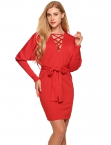 Red Criss Cross Deep V-Neck Batwing Long Sleeve Belted Bodycon Dress