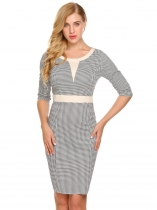 Color2 Women Vintage Style Half Sleeve Plaid Bodycon Business Pencil Dress