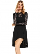 Black Sexy Floral Lace Long Sleeve Asymmetrical Swing Dress